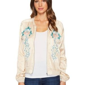 blank nyc bomber jacket embroidered floral zip M